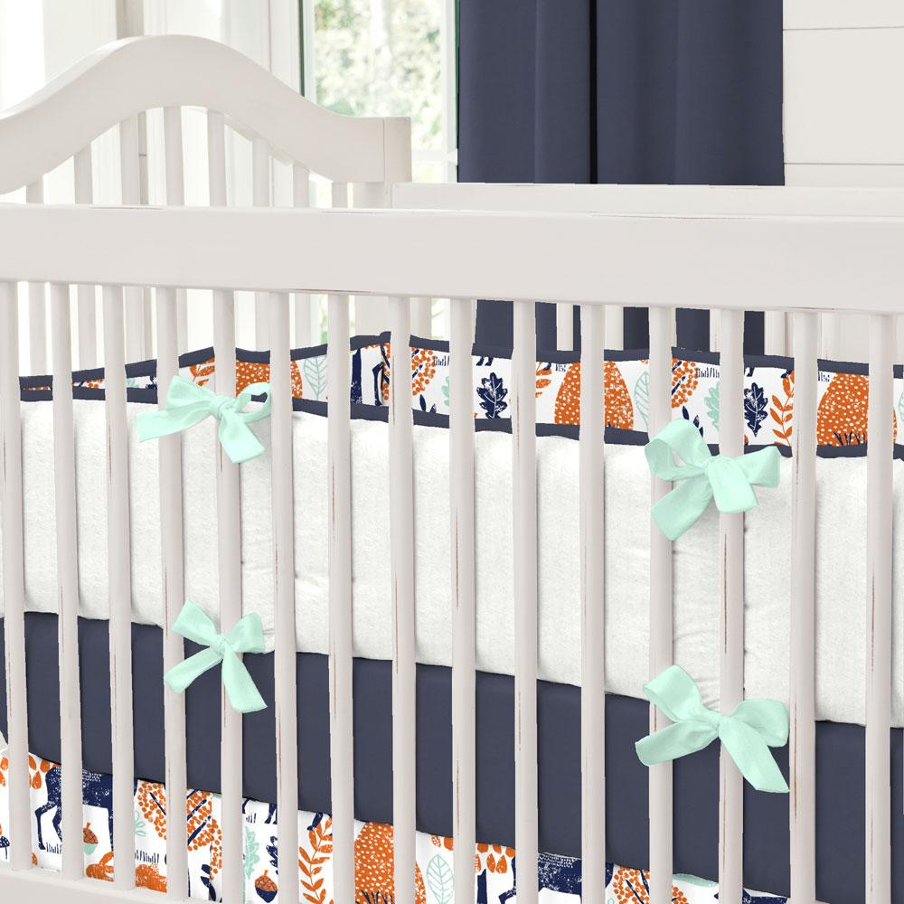 Product image for Navy and Orange Woodland Animals Crib Bumper