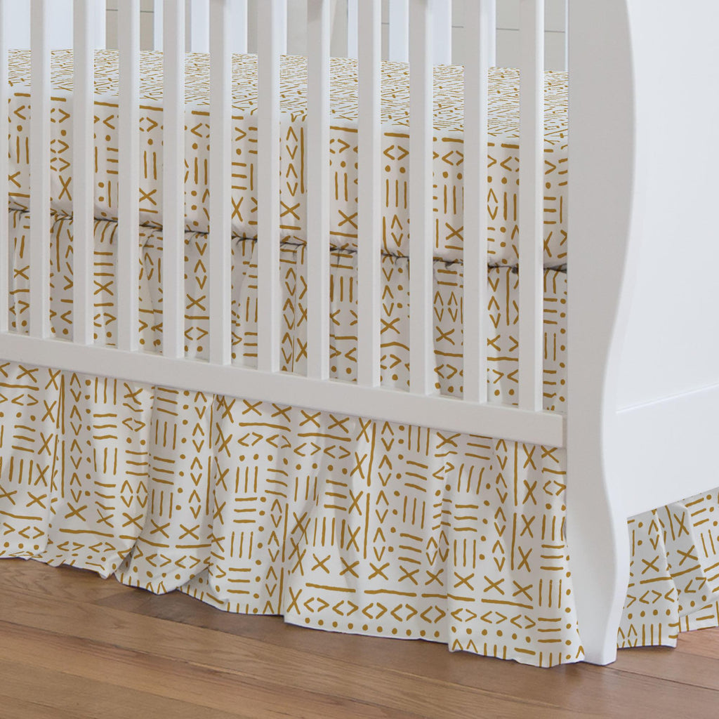 Product image for Mustard Mudcloth Crib Skirt Gathered