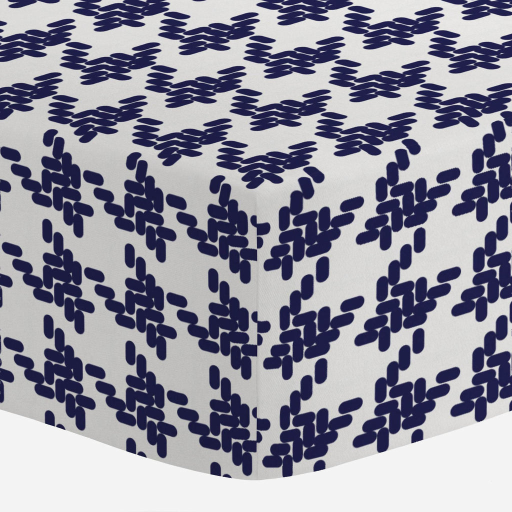 Product image for Windsor Navy Modern Houndstooth Mini Crib Sheet
