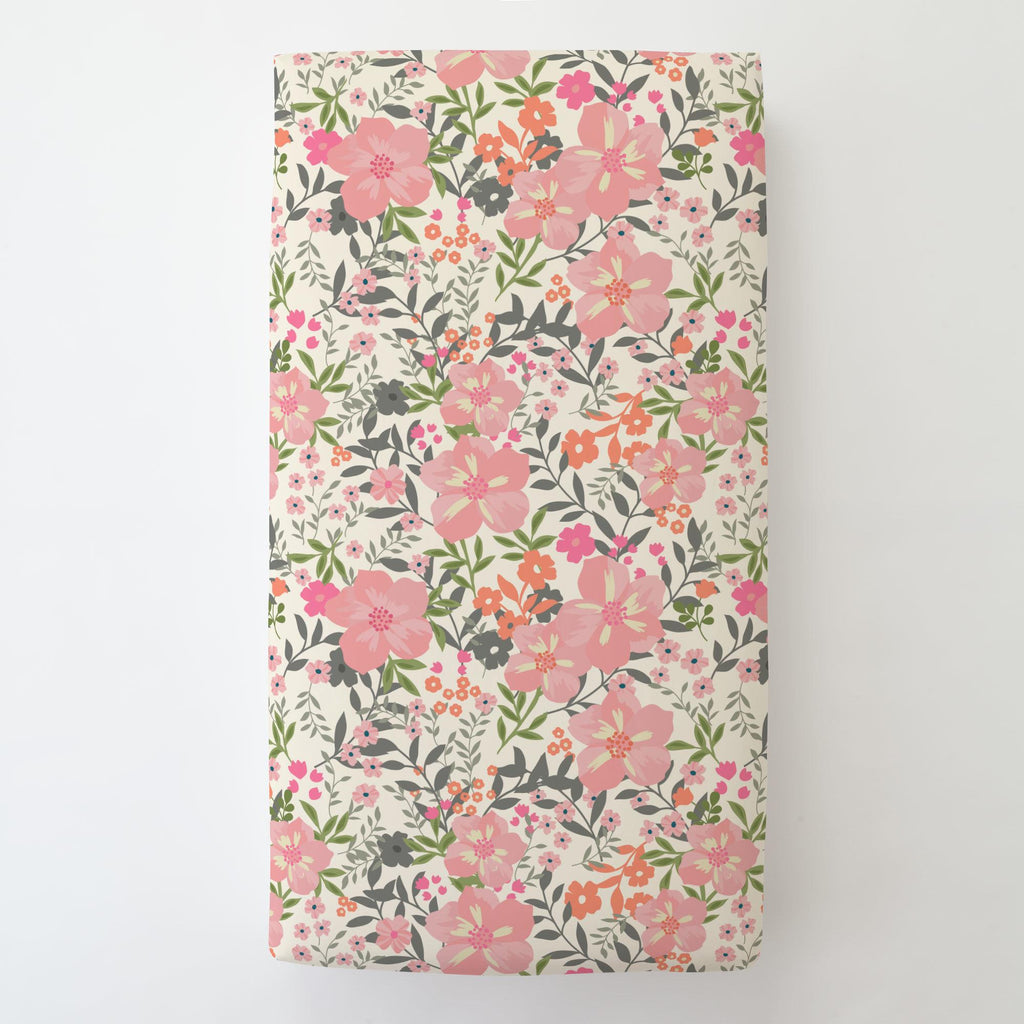 Product image for Pink and Orange Floral Tropic Toddler Sheet Bottom Fitted