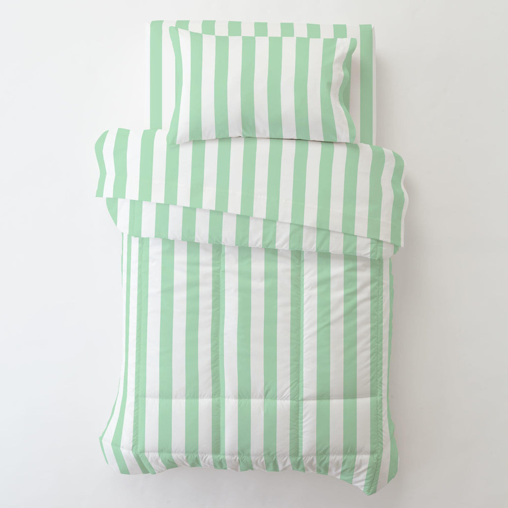 Product image for Mint Stripe Toddler Pillow Case with Pillow Insert
