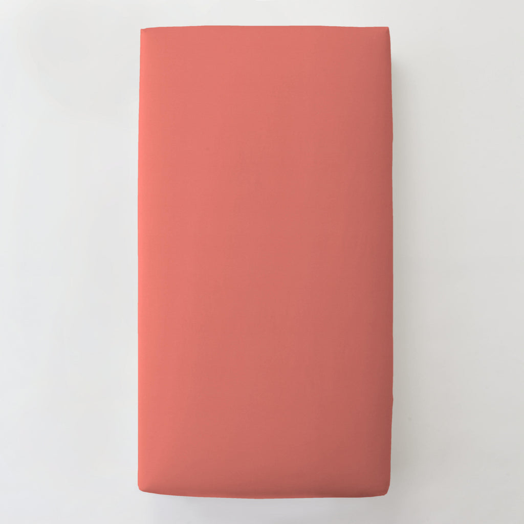 Product image for Solid Coral Toddler Sheet Bottom Fitted