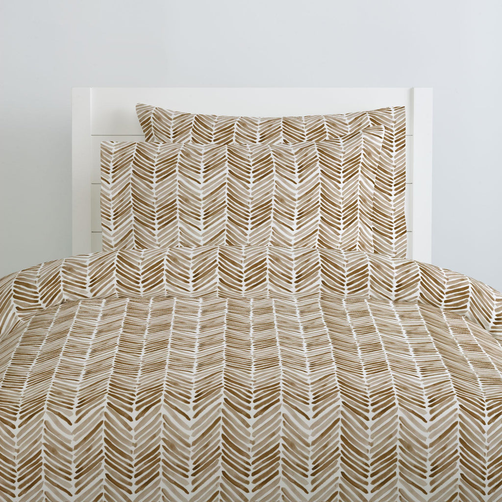Product image for Caramel Painted Chevron Pillow Case
