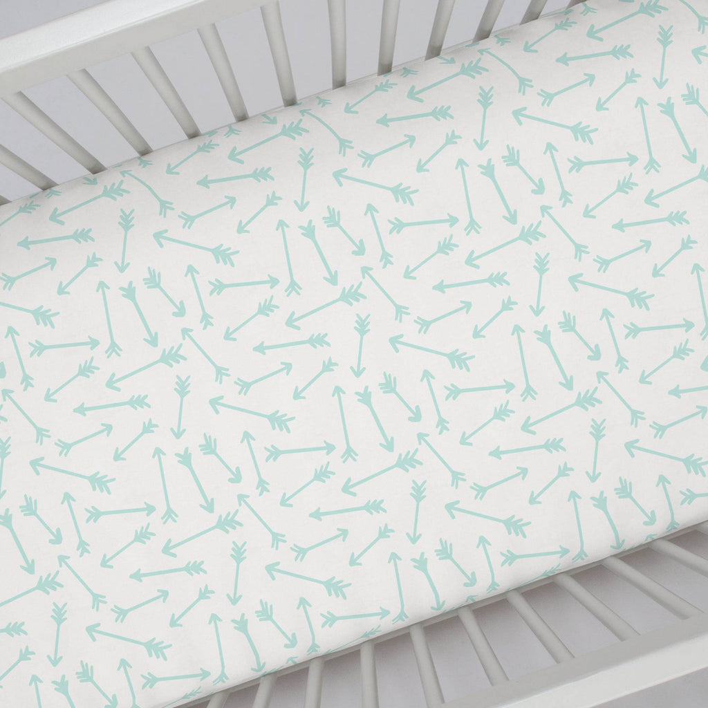 Product image for Icy Mint Whimsical Arrows Crib Sheet