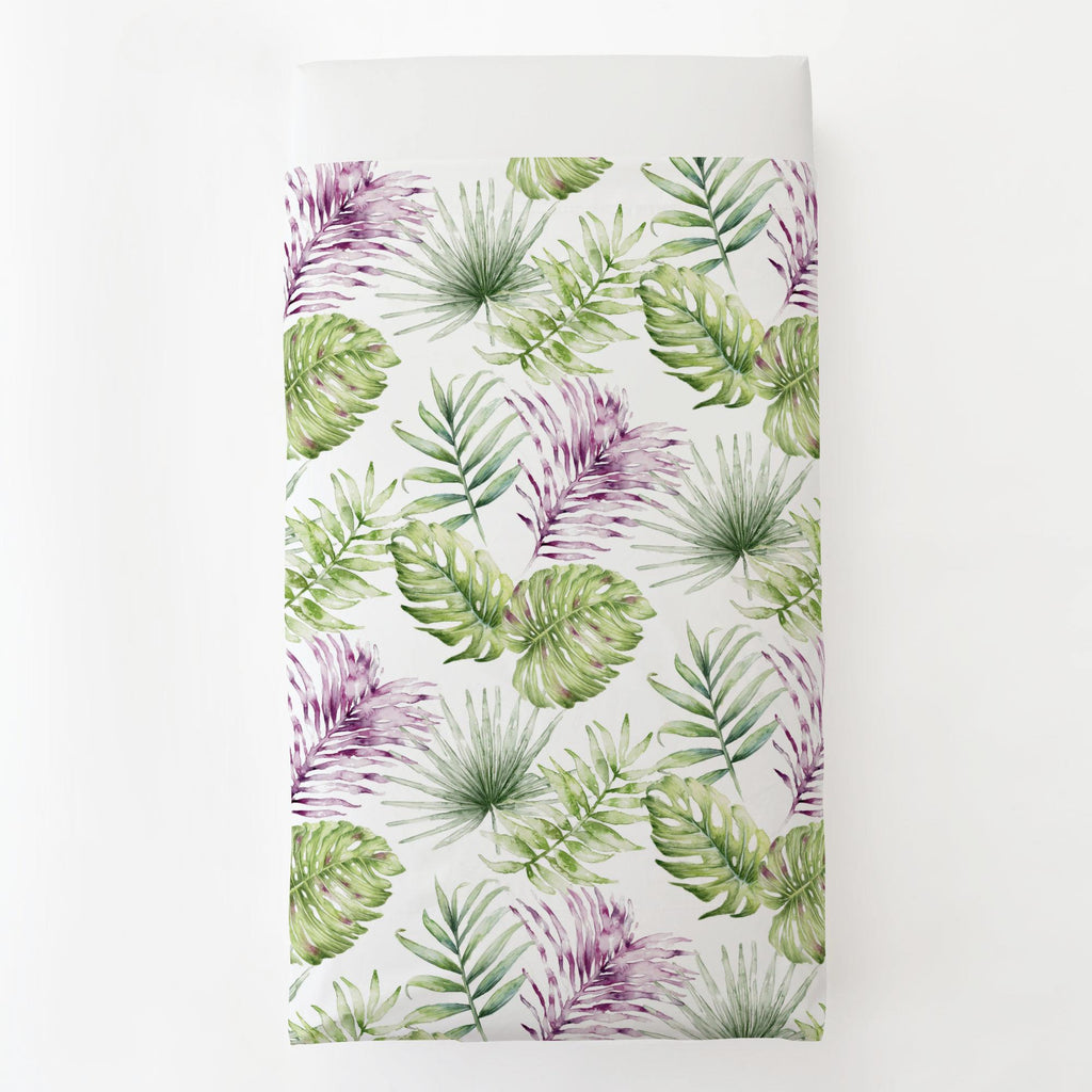 Product image for Purple Painted Tropical Toddler Sheet Top Flat