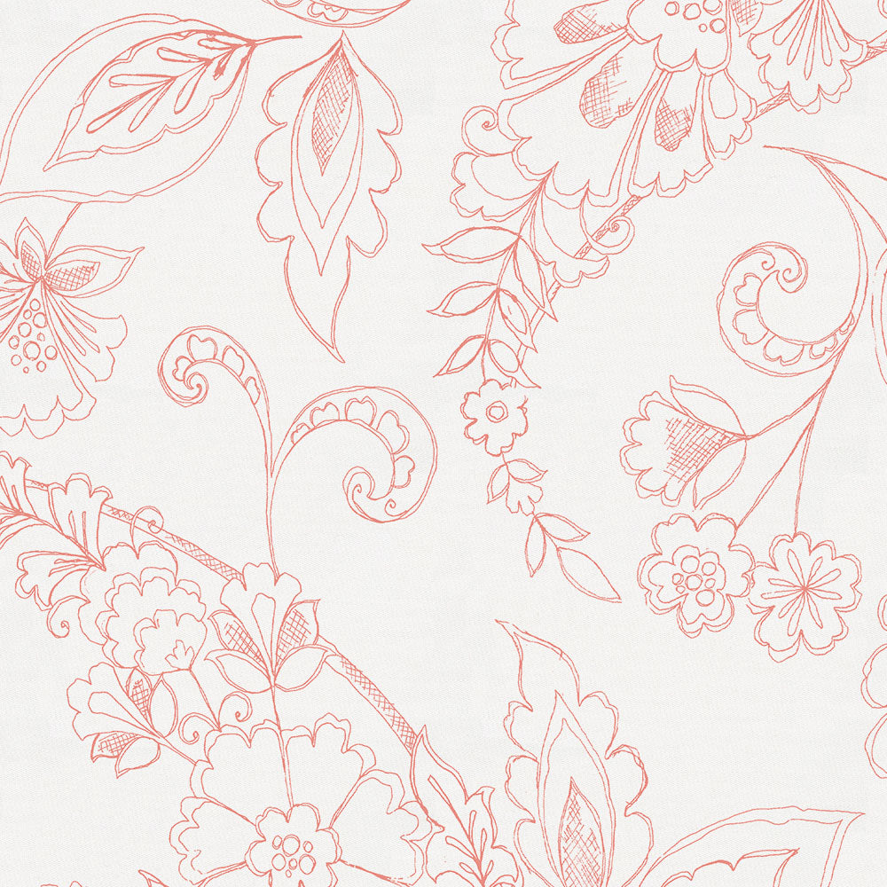 Product image for Light Coral Sketchbook Floral Drape Panel
