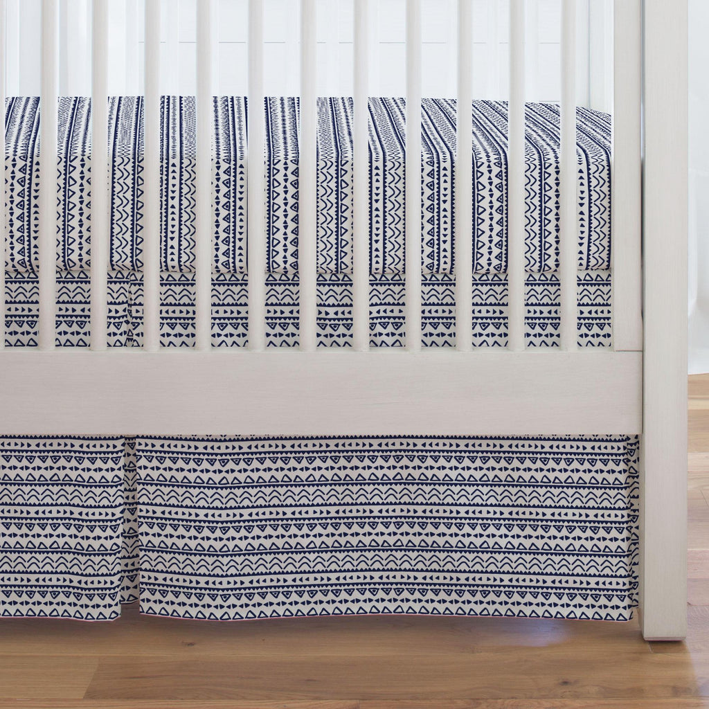 Product image for Windsor Navy Baby Aztec Crib Skirt Single-Pleat