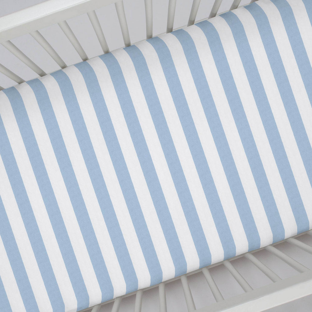 Product image for Blue Giddy Stripe Crib Sheet