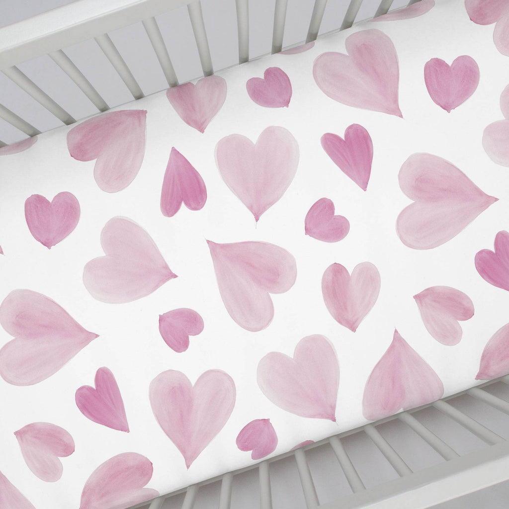 Product image for Pink Watercolor Hearts Crib Sheet