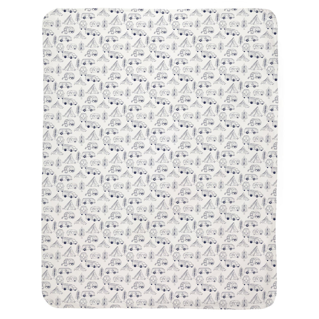 Product image for Navy Little Campers Baby Blanket