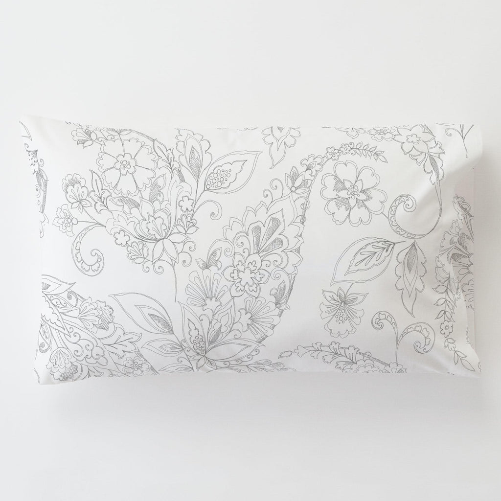 Product image for Cloud Gray Sketchbook Floral Toddler Pillow Case