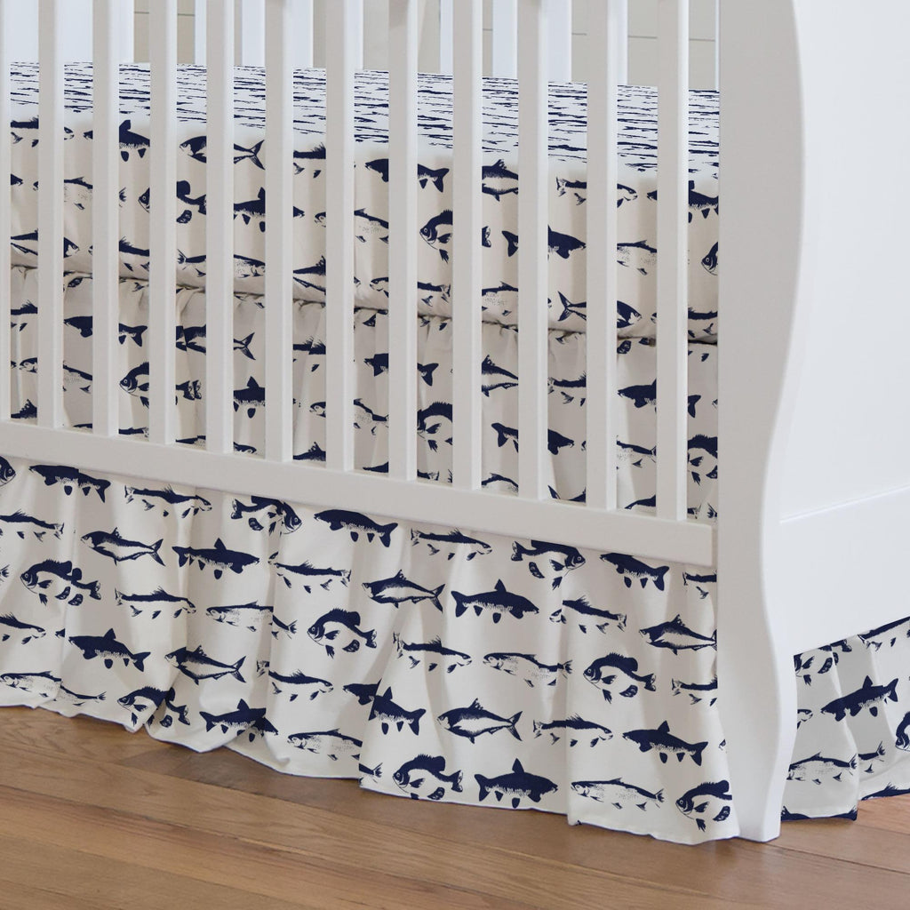 Product image for Windsor Navy Fish Crib Skirt Gathered
