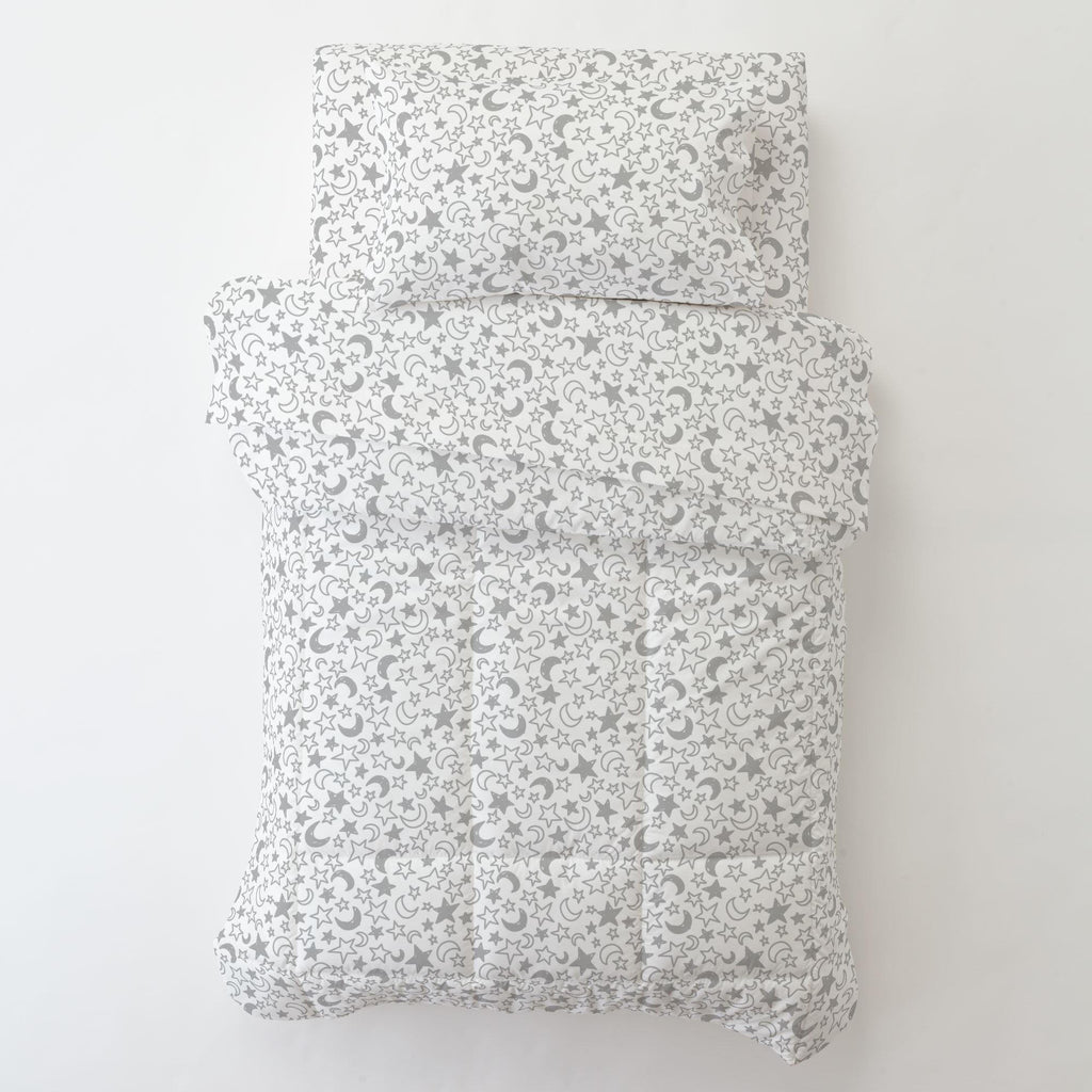 Product image for Silver Gray Moon and Stars Toddler Comforter
