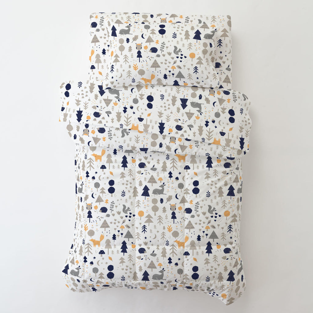 Product image for Taupe and Windsor Navy Baby Woodland Toddler Pillow Case with Pillow Insert
