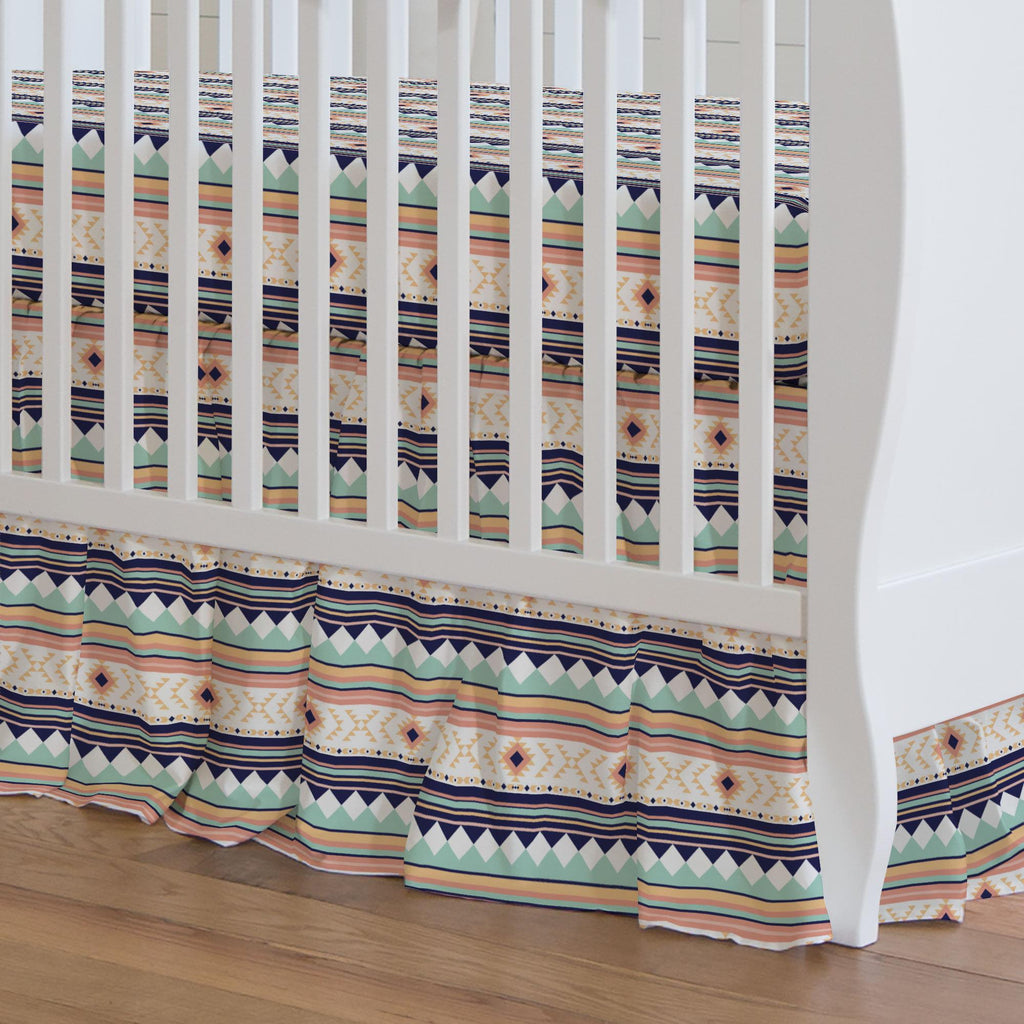 Product image for Navy and Mint Aztec Stripe Crib Skirt Gathered