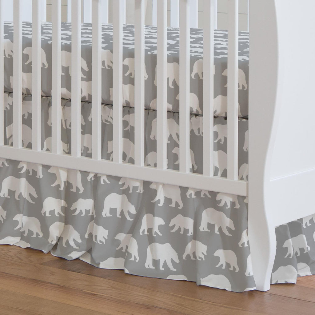 Product image for Silver Gray and White Bears Crib Skirt Gathered