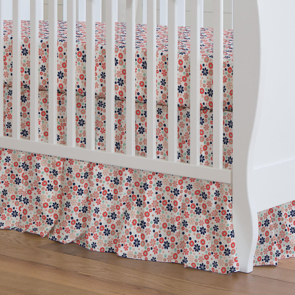 Product image for Coral Spring Flowers Crib Skirt Gathered