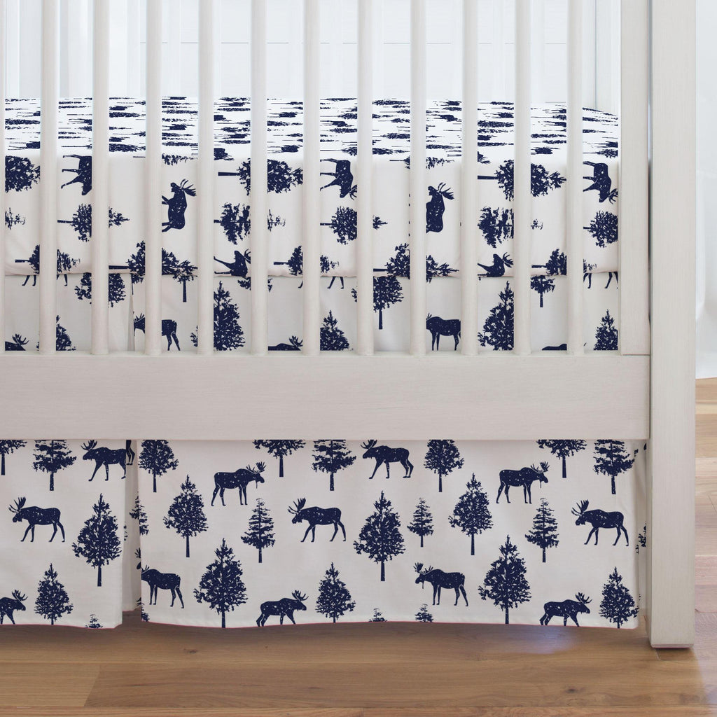 Product image for Navy Moose Crib Skirt Single-Pleat