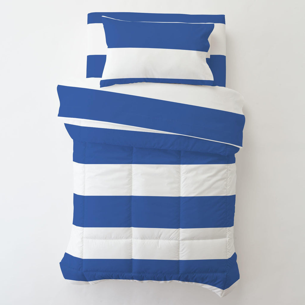 Product image for Ocean Blue Horizontal Stripe Toddler Pillow Case with Pillow Insert
