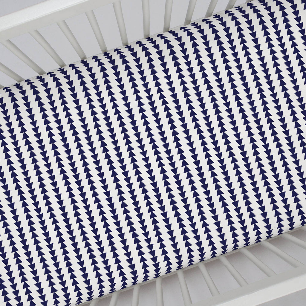 Product image for Windsor Navy Arrow Stripe Crib Sheet