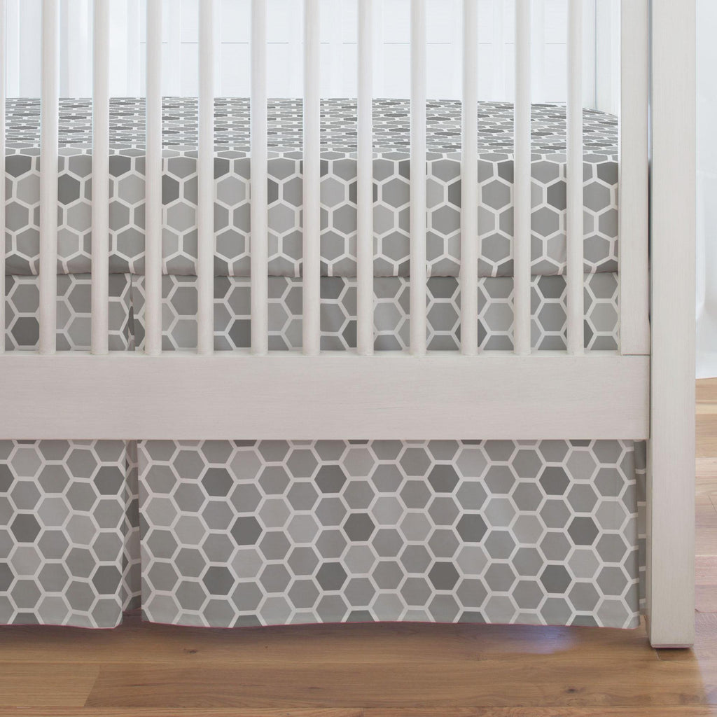 Product image for Gray Honeycomb Crib Skirt Single-Pleat