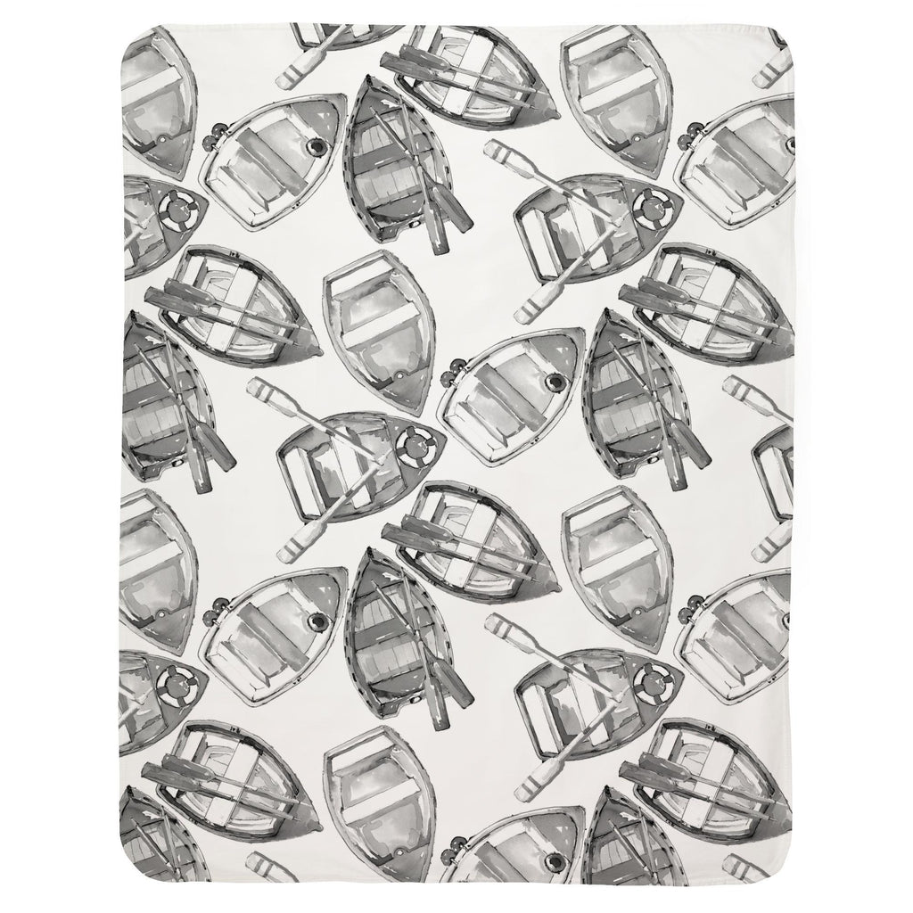 Product image for Gray Watercolor Boats Baby Blanket