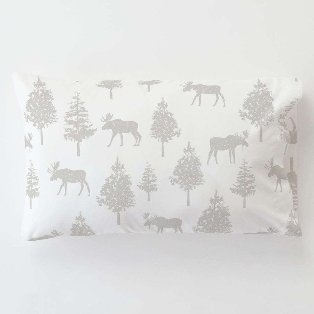 Product image for French Gray Moose Toddler Pillow Case