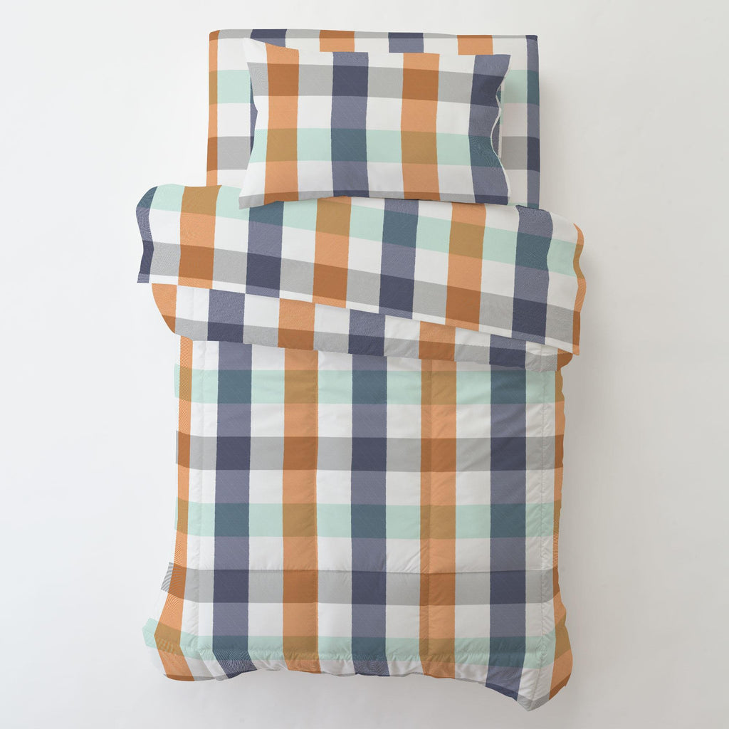 Product image for Navy and Orange Buffalo Check Toddler Comforter