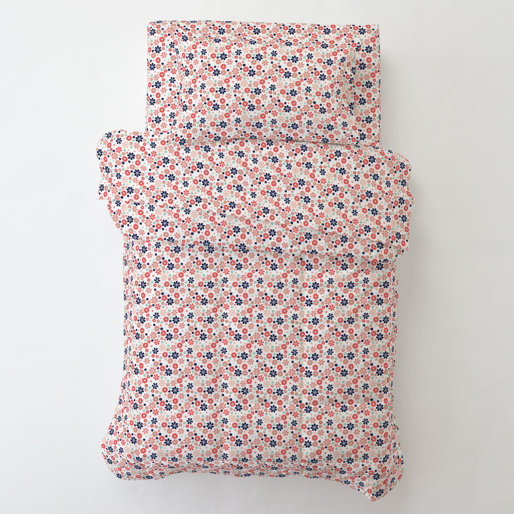 Product image for Coral Spring Flowers Toddler Pillow Case with Pillow Insert