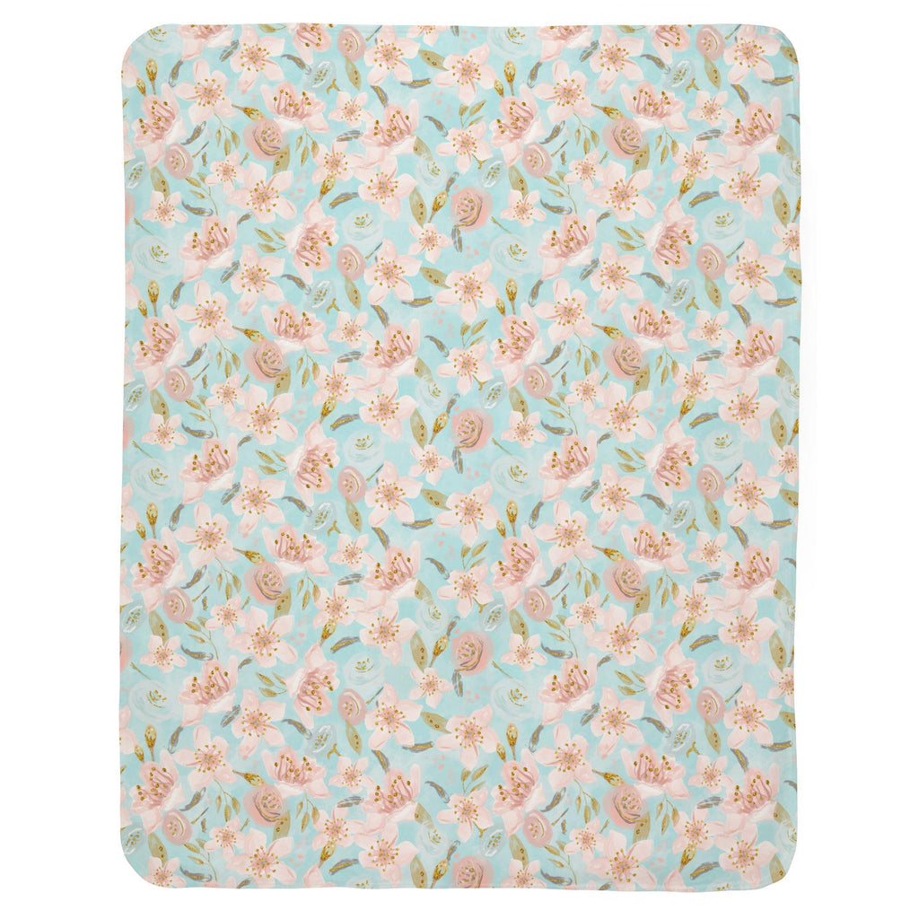 Product image for Aqua and Pink Hawaiian Floral Baby Blanket