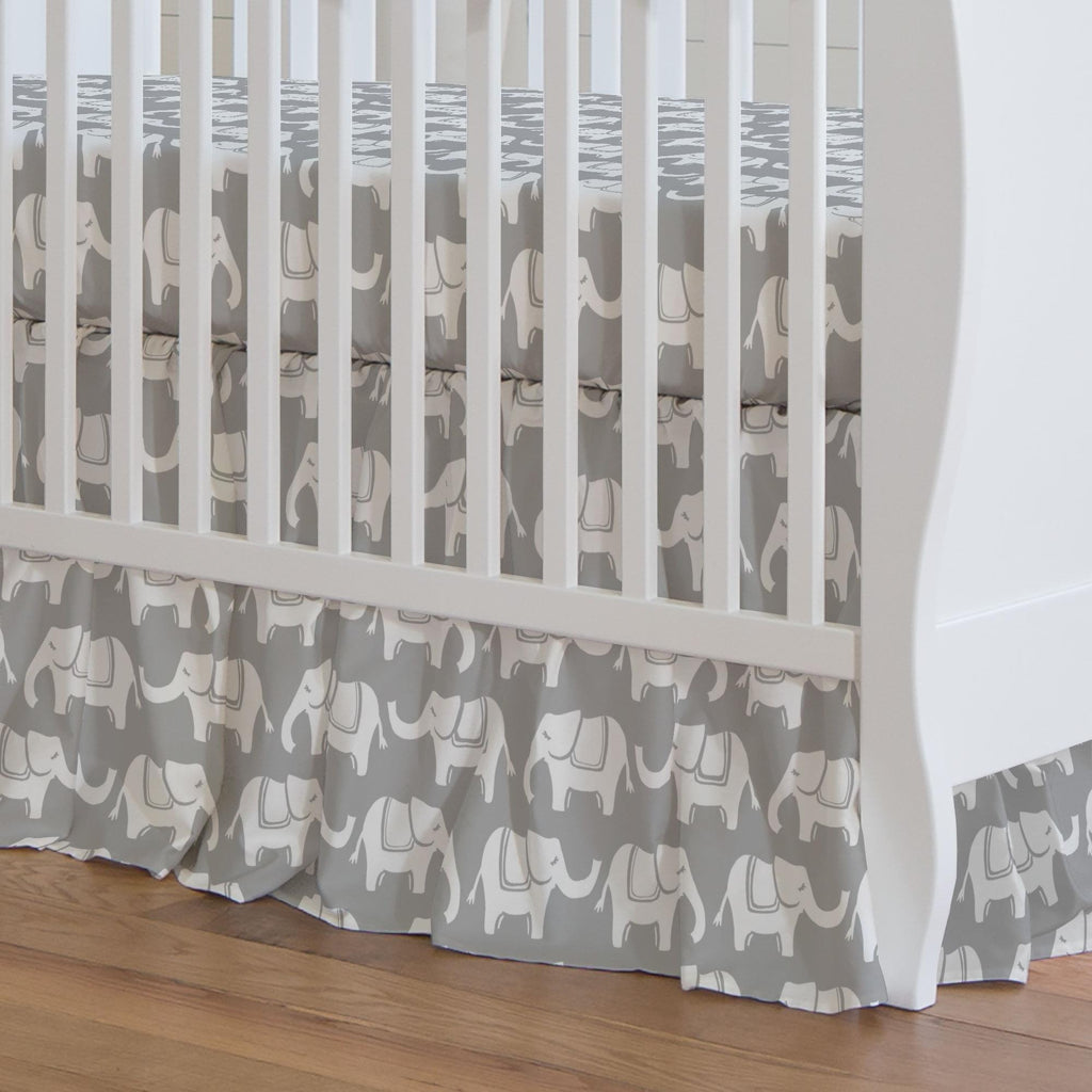 Product image for Gray and White Marching Elephants Crib Skirt Gathered