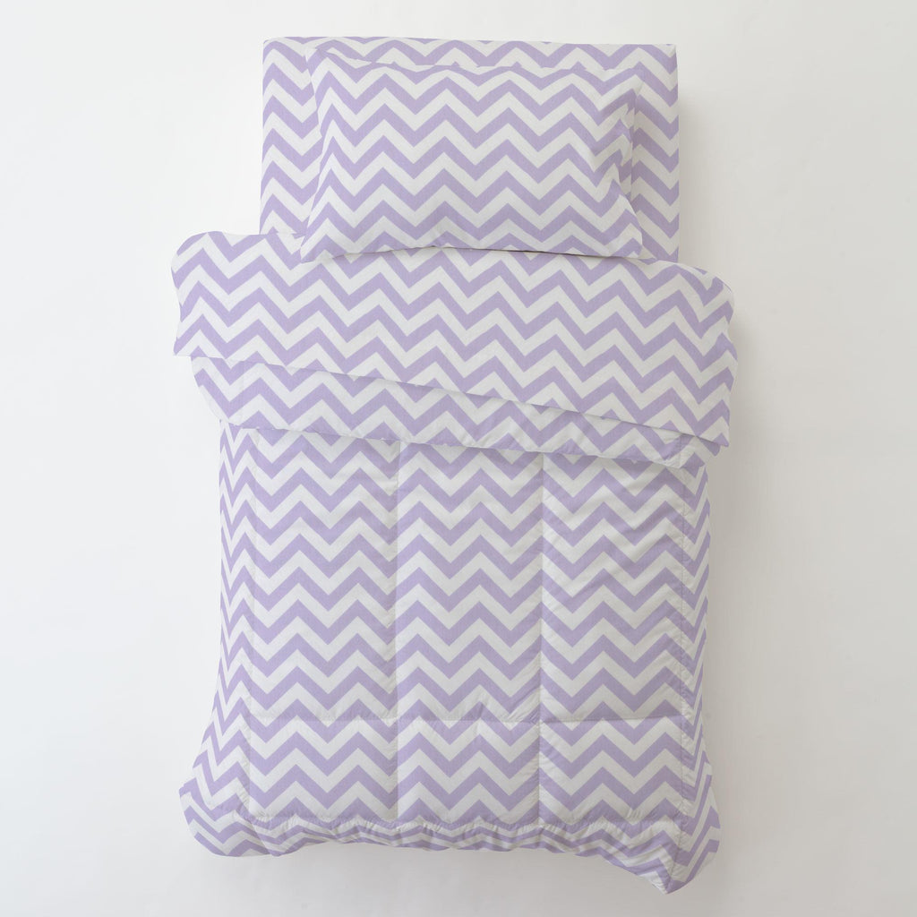 Product image for Lilac and White Zig Zag Toddler Comforter