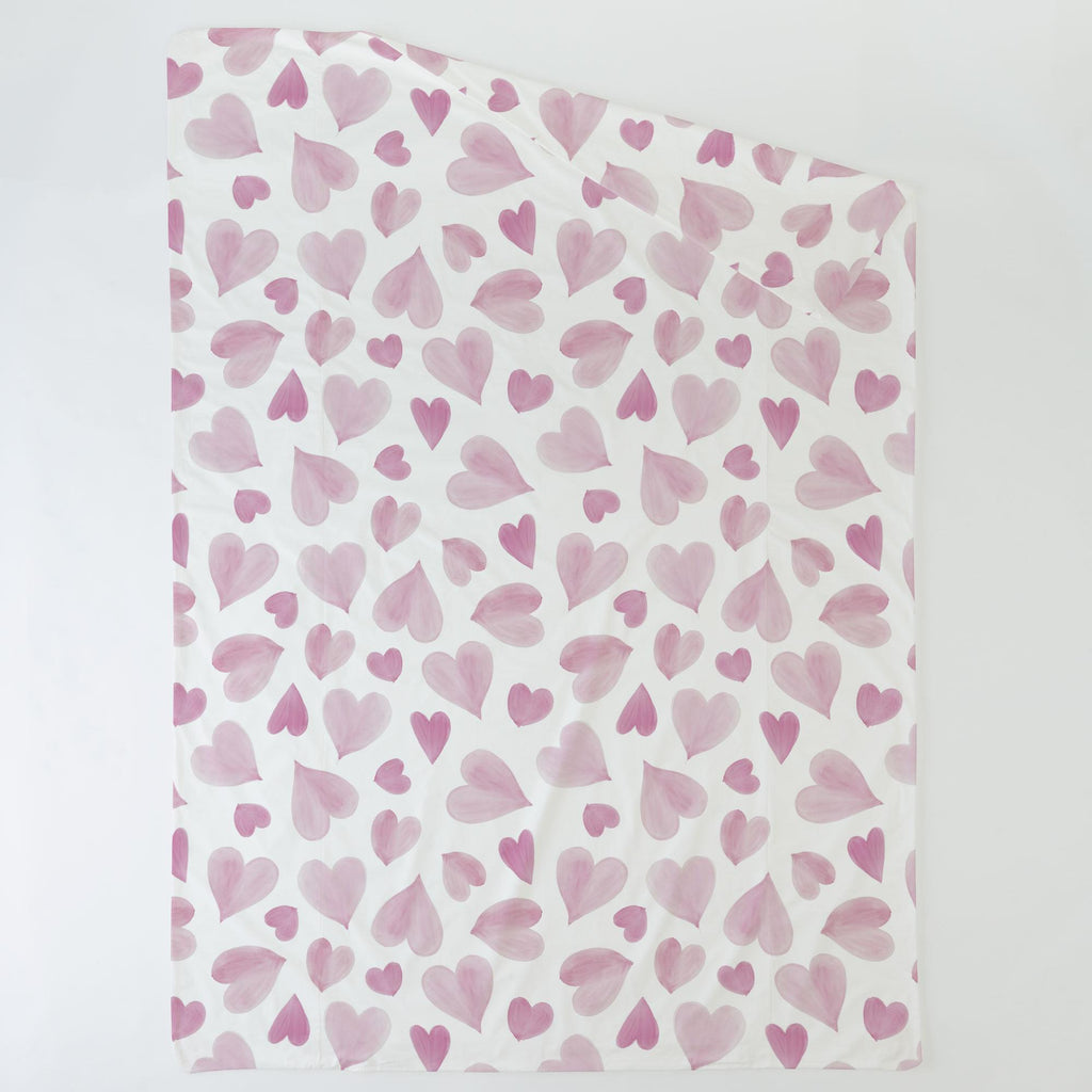 Product image for Pink Watercolor Hearts Duvet Cover