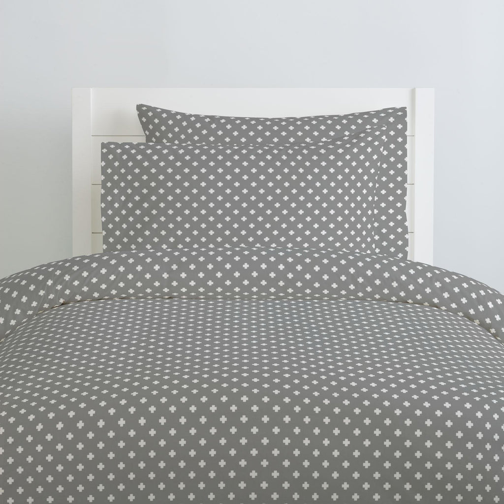 Product image for Gray Mini Swiss Cross Pillow Case