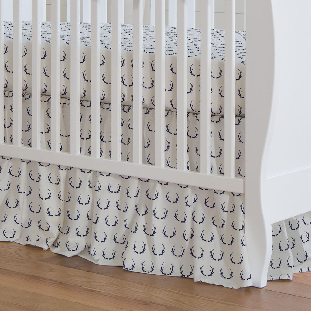 Product image for Windsor Navy Antlers Crib Skirt Gathered
