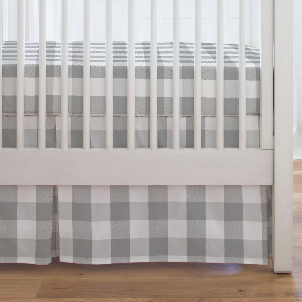 Product image for Gray Buffalo Check Crib Skirt Single-Pleat