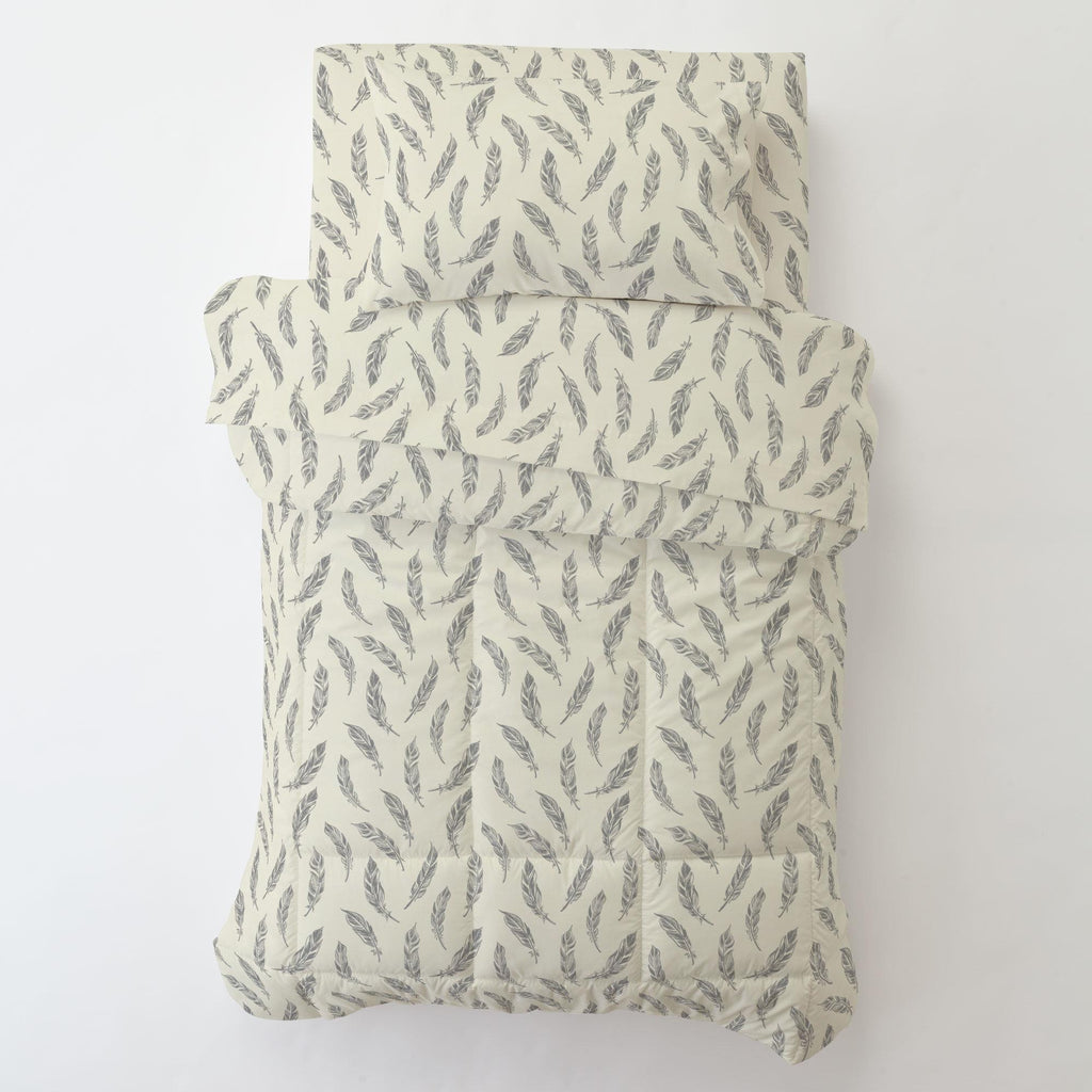 Product image for Natural Gray Feathers Toddler Comforter