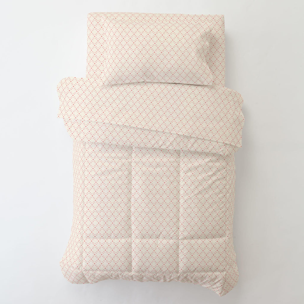 Product image for Coral Pink Lattice Dots Toddler Comforter