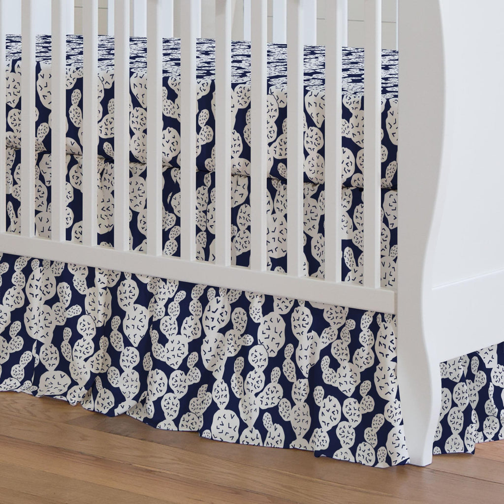 Product image for Navy Prickly Pear Crib Skirt Gathered