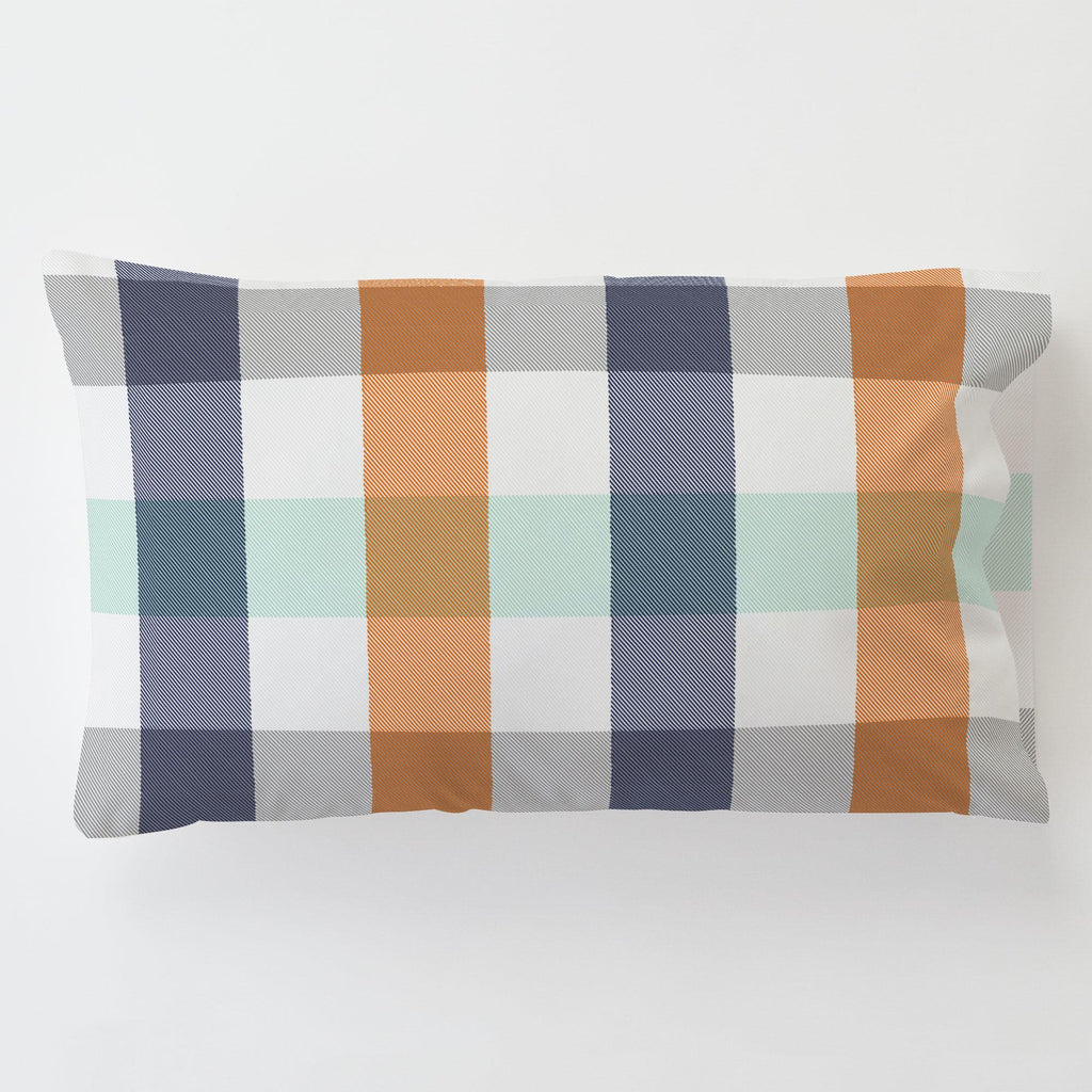 Product image for Navy and Orange Buffalo Check Toddler Pillow Case