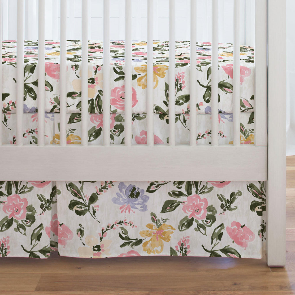 Product image for Coral Pink Garden Crib Skirt Single-Pleat