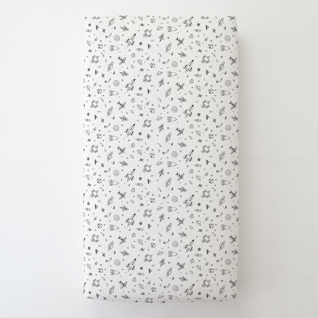 Product image for Onyx and White Rockets Toddler Sheet Bottom Fitted