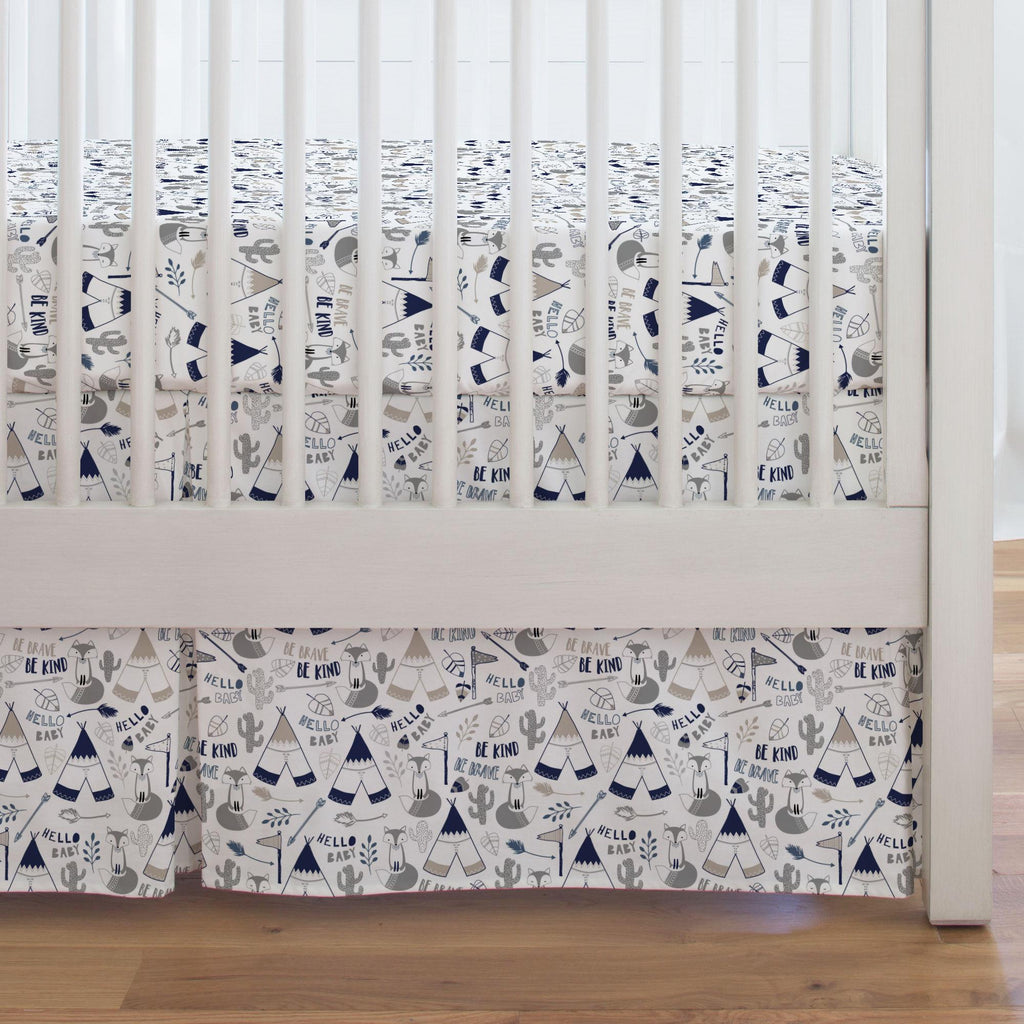 Product image for Navy Brave Fox Crib Skirt Single-Pleat