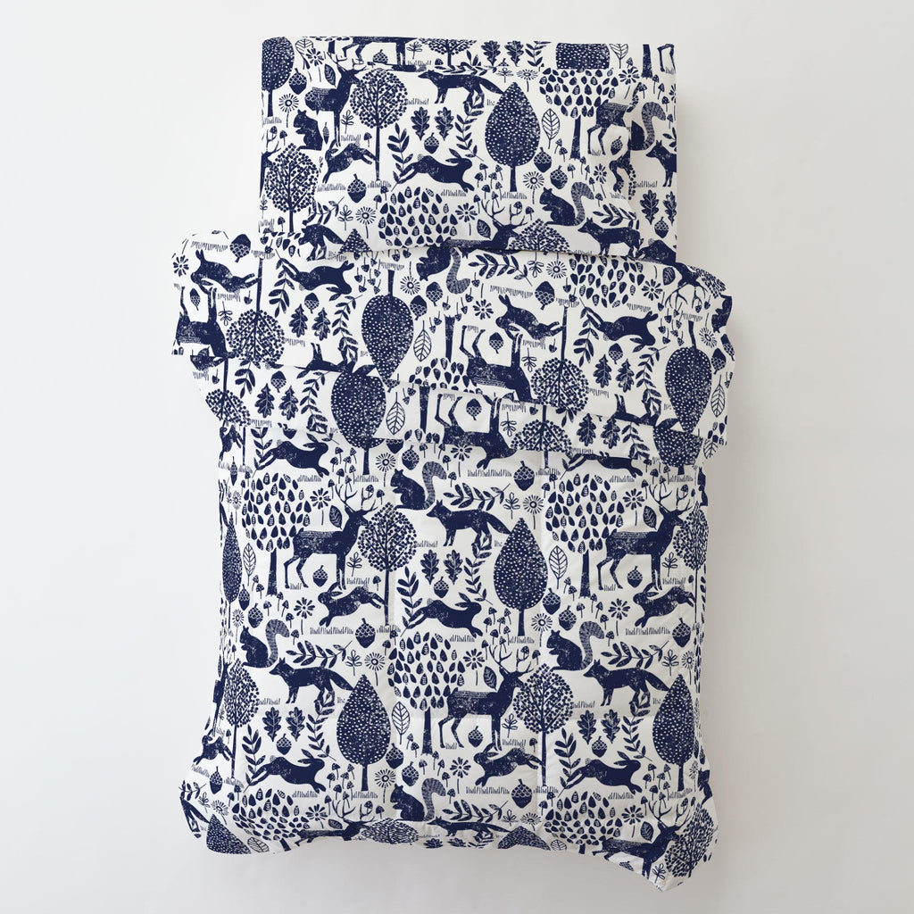 Product image for Navy Woodland Animals Toddler Pillow Case with Pillow Insert