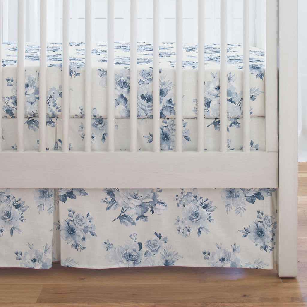 Product image for Blue Farmhouse Floral Crib Skirt Single-Pleat
