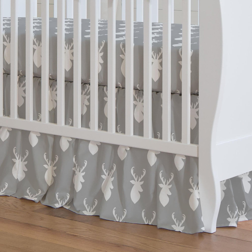 Product image for Silver Gray and White Deer Head Crib Skirt Gathered