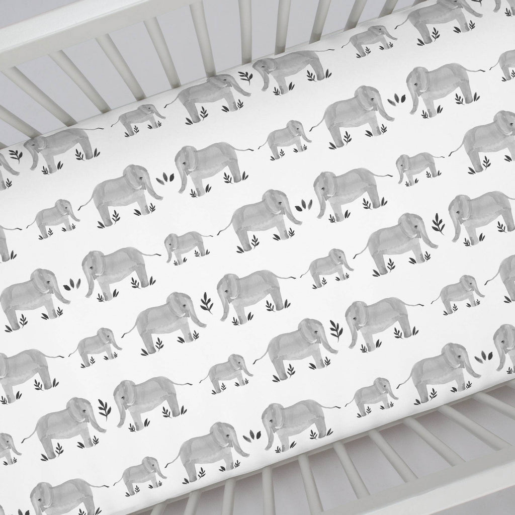 Product image for Gray Painted Elephants Crib Sheet