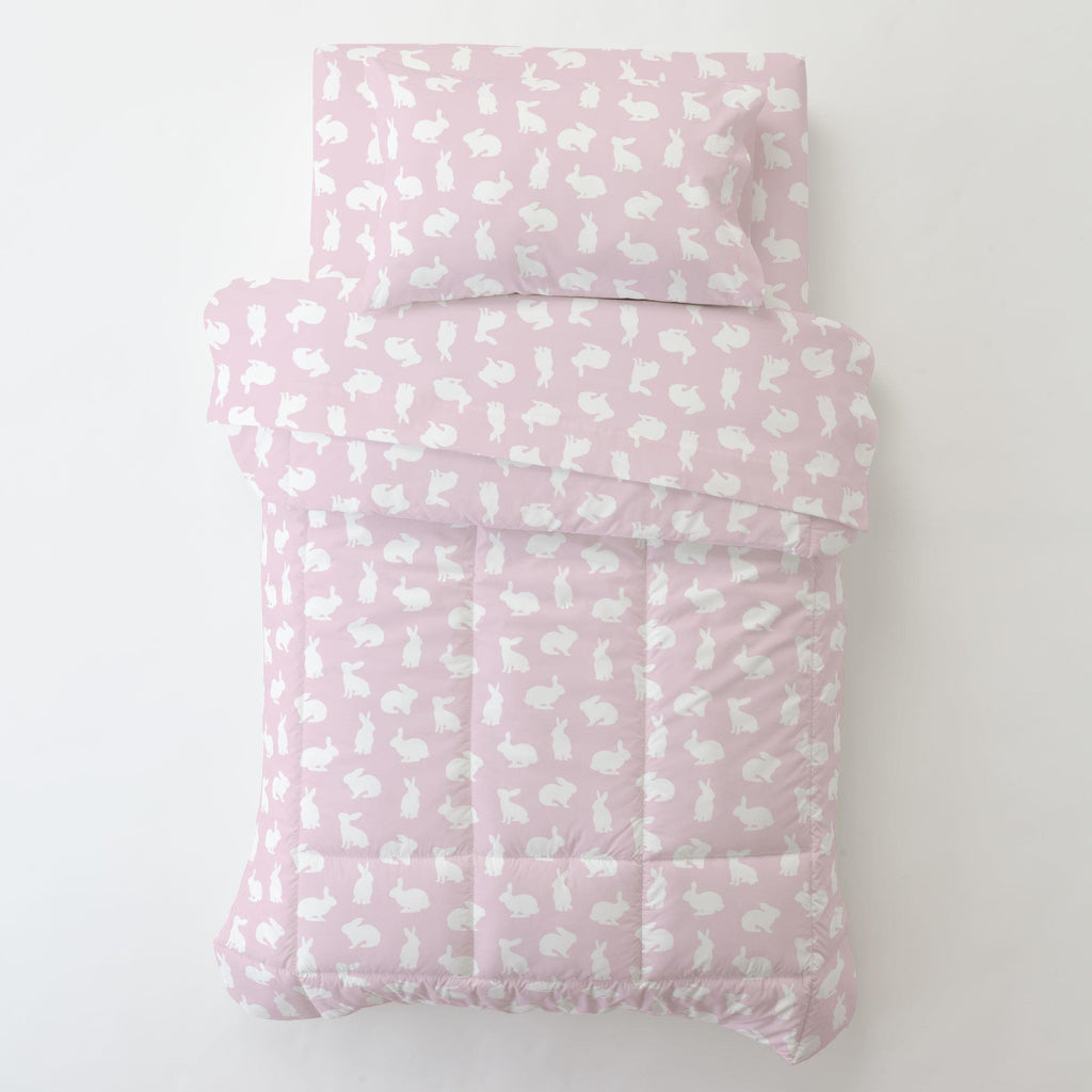 Product image for Pink and White Bunnies Toddler Pillow Case with Pillow Insert
