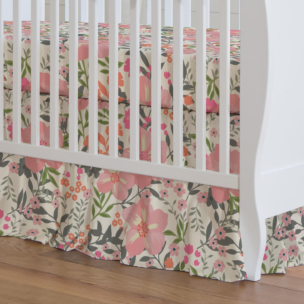 Product image for Pink and Orange Floral Tropic Crib Skirt Gathered