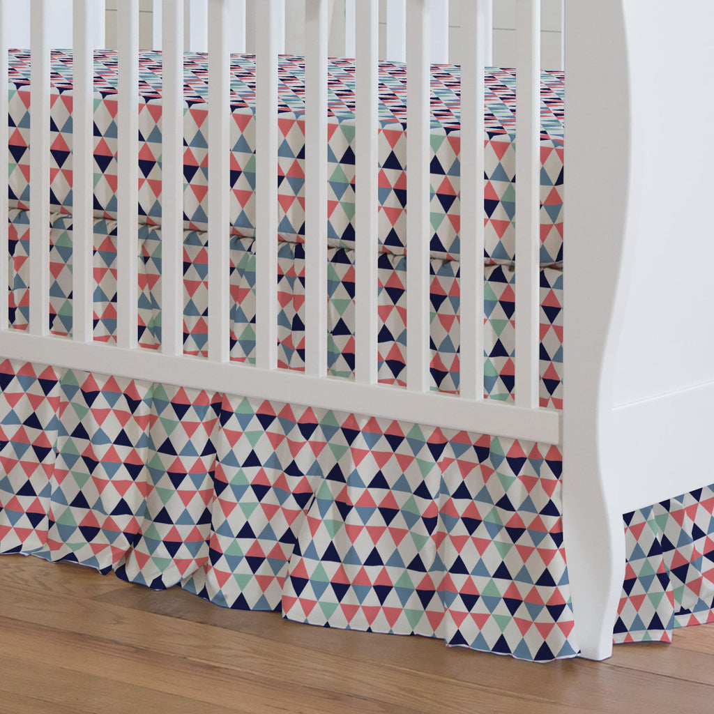Product image for Coral and Mint Triangles Crib Skirt Gathered